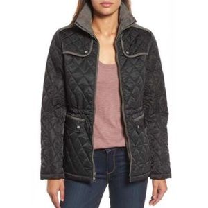 NWT Vince Camuto Black Mixed Media Quilted Jacket